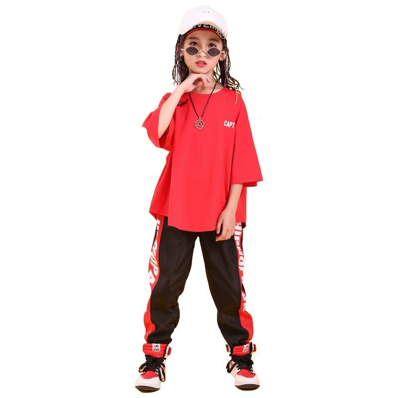 Детская одежда в стиле хип-хоп свободная футболка большого размера повседневные штаны для девочек и мальчиков, одежда для джазовых танцев костюмы, одежда для бальных танцев