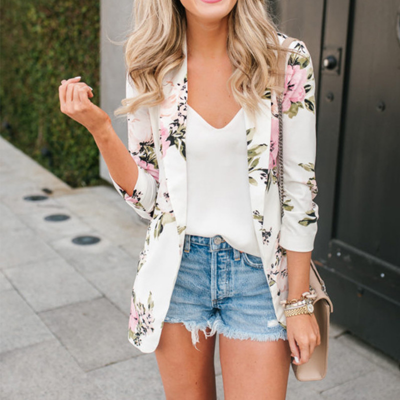 Autumn Notched Floral Female Blazer Jacket White Print Blazers Jackets For Women 2019 Vintage Casual Elegant Cardigan Ladies