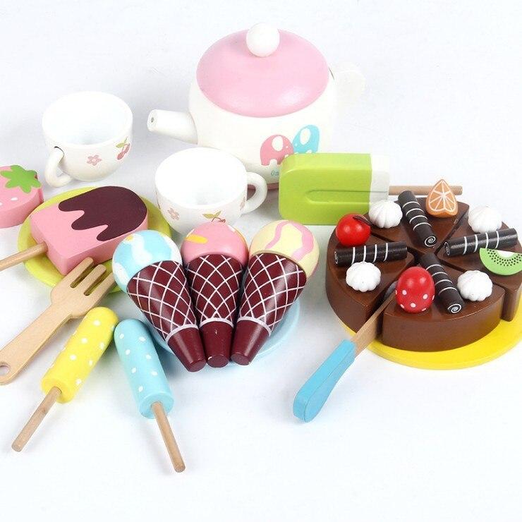 Деревянный детский игровой дом мороженое Автомобиль Моделирование кухня тележка резка развивающие забавная игрушка