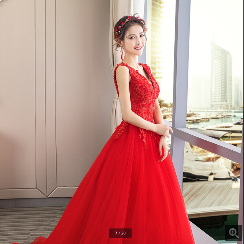 Robe De Mariage 2019 Red Lace Appliques A Line Wedding Dresses Sleeveless Beaded Sequins Corset Court Train Bride Gowns Hot Sale
