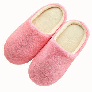 Women Slippers Shoes Loafer Flip-Flop-Guest Velvet Warm Thicken Indoor Silent Soft Solid