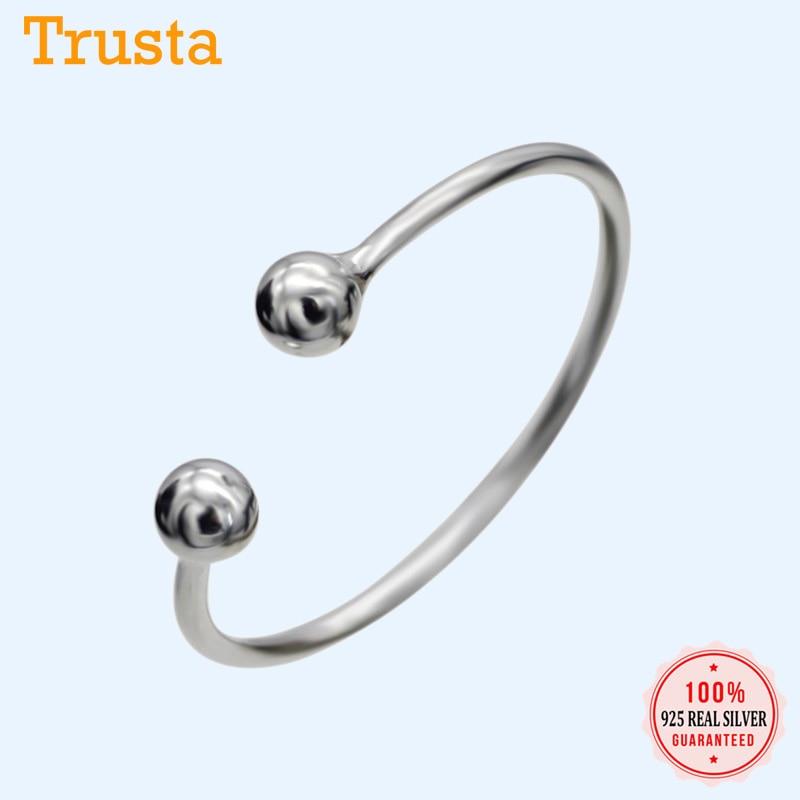 Trustdavis Trendy 100% 925 srebro moda mała piłka otwarcie obrączki dla kobiet luksusowe obrączki Bijoux DS331