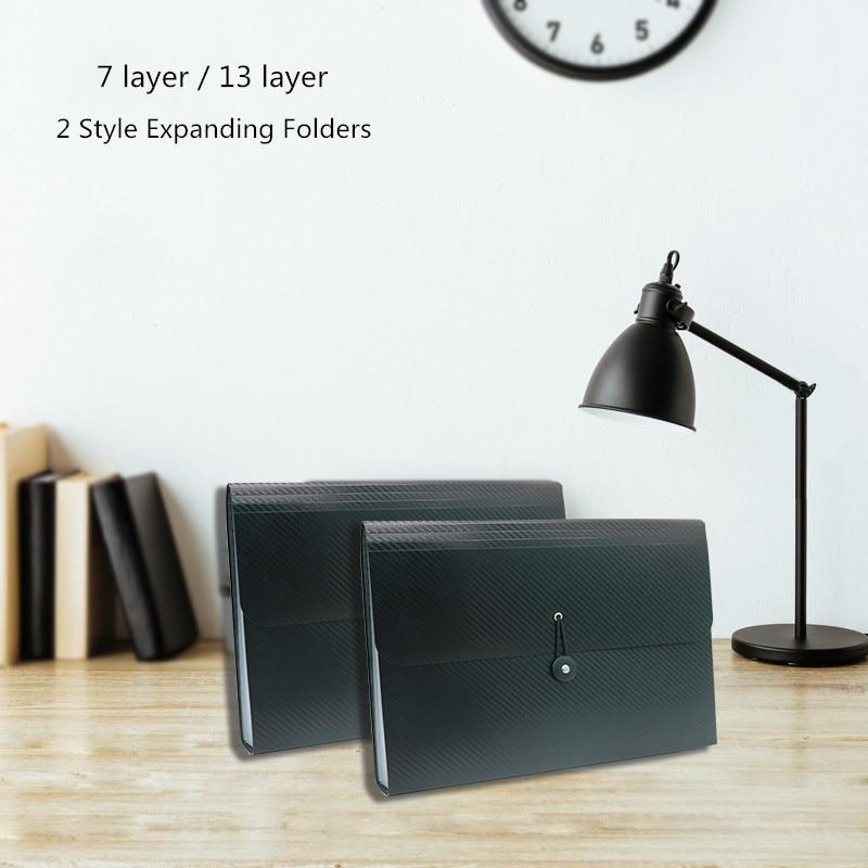 7 layer Expanding File Folder Organ Bag A4 Organizer Paper Hold Document Folder Hanging buckle Large capacity Black PP 33*24cm