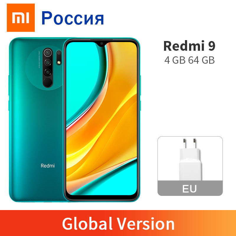 "New Global Version Redmi 9 4GB 64GB Smartphone Helio G80 Redmi9 13MP AI Quad Camera 5020mAh Type-c 6.53"" Dot Drop Display(China)"