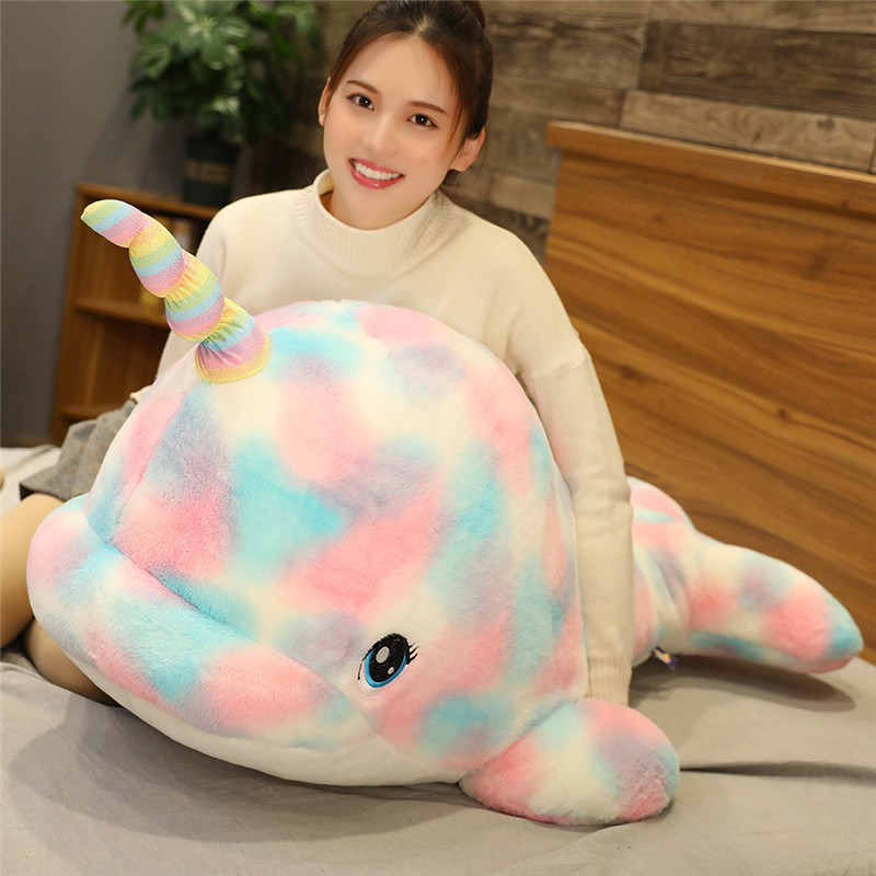 Narwhal Plush Toy Doll Soft Rainbow <font><b>Whale</b></font> Fish Marine Cute Stuffed Animals <font><b>Plushies</b></font> Toys Kawaii Plushie for Children AP image