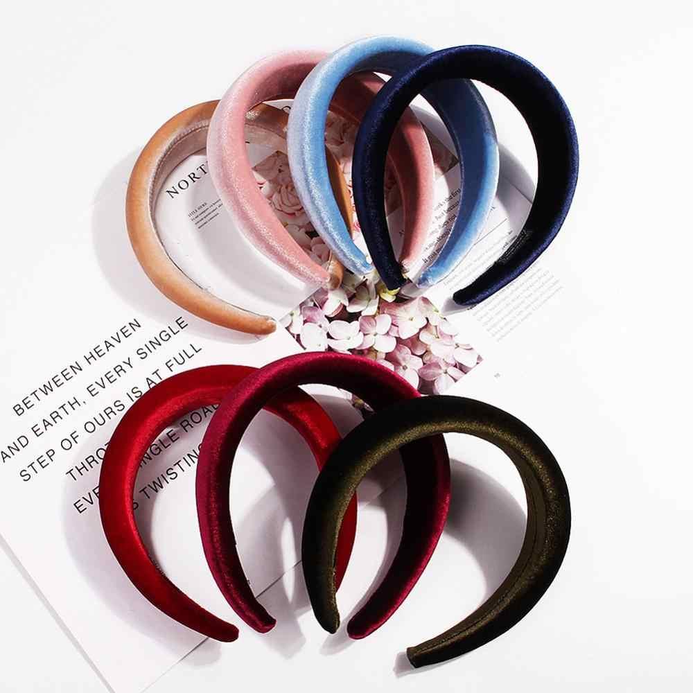 2019 женская мягкая широкая губчатая повязка на голову блестящая бархатная Милая конфетная расцветка обруч для волос винтажные вечерние утолщенные Эластичные Головные уборы