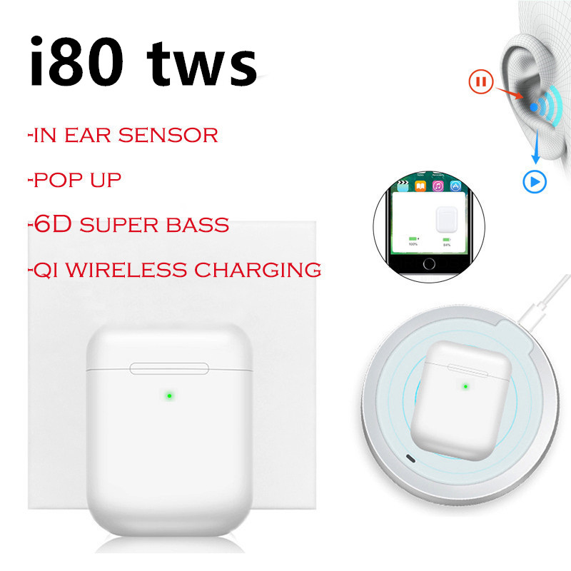 Original i80 tws Bluetooth Earphones Wireless Charging Pop Up Touch Bluetooth Earbuds Stereo <font><b>i80tws</b></font> PK 1:1 Replica i60 tws i30 image