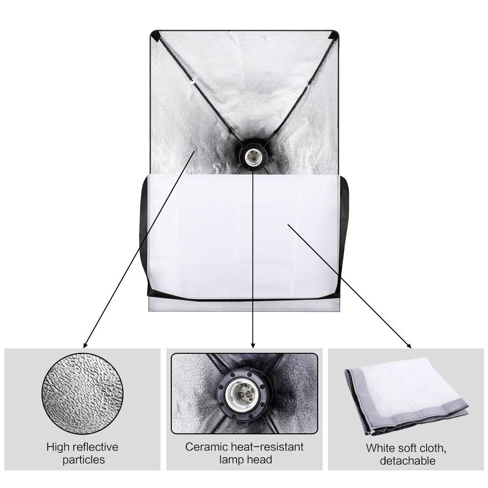 Kit de accesorios de iluminación continua para Softbox de estudio fotográfico profesional con 3 uds. Softbox, LED Blub, soporte para trípode - 2