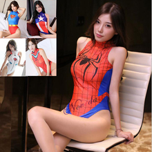 Spiderman/Superman/Captain America/D.VA Cosplay Costume Anime Swimsuit Women Sexy Bikini Swimwear Bodysuit 3D Spiderman Suit