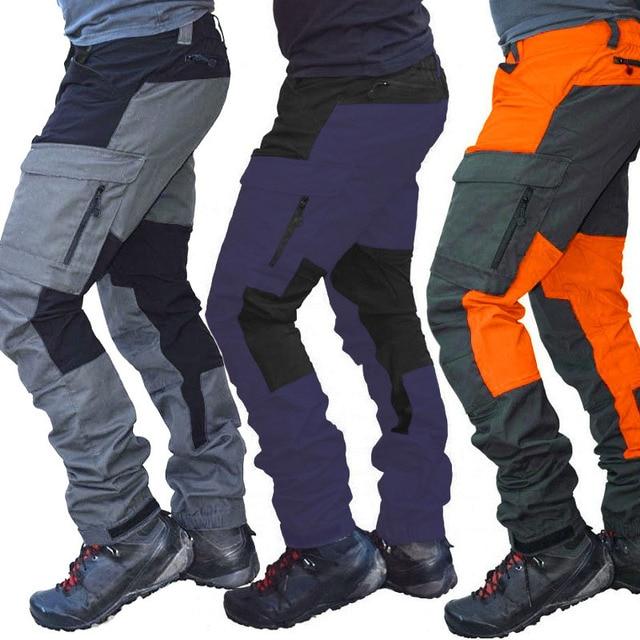 SCIONE Casual Men Fashion Color Block Multi Pockets Sports Long Cargo Pants Work Trousers for Men 5