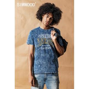 Image 1 - سيموود 2020 قميص نيلي كلاسيكي جديد للصيف والربيع مطبوع عليه حروف برقبة دائرية للرجال 100% قطن هيب هوب علوي 190426