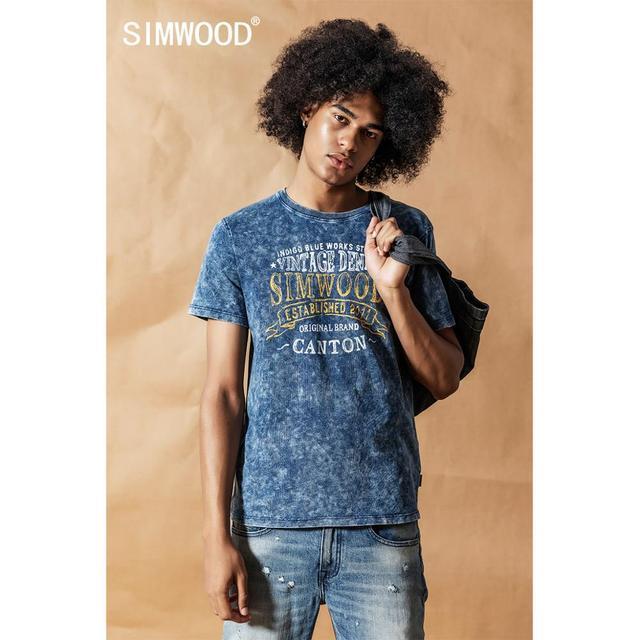 سيموود 2020 قميص نيلي كلاسيكي جديد للصيف والربيع مطبوع عليه حروف برقبة دائرية للرجال 100% قطن هيب هوب علوي 190426
