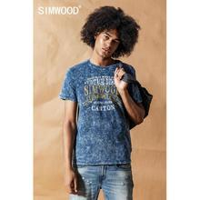 SIMWOOD 2020 여름 봄 새로운 빈티지 씻어 인디고 티셔츠 남자 편지 인쇄 O 넥 Tshirt 남성 100% 코튼 힙합 톱 190426