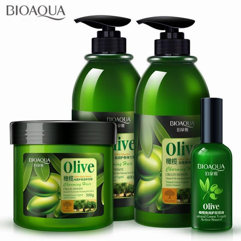 4 pcs lote conjunto de cuidados com o cabelo oliva anti caspa shampoo oleo cachos enhancer