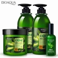 4Pcs/lot Olive Hair Care Set Anti-Dandruff Hair Shampoo Oil Curls Enhancer Hair Mask Repair Frizz For Dry Damaged Hair