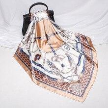 FXAASS Bandana Frauen Hijab Platz Schal Mode Dame Retro Luxus Seide Schal Schals Gürtel hufeisen 90*90cm Große cape Kopftuch