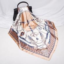 FXAASS Bandana Women Hijab Square Scarf Fashion Lady Retro Luxury Silk Scarf Shawls Belt horseshoe 90*90cm Large Cape Headscarf