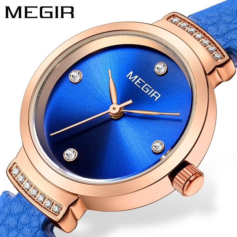MEGIR Top marque femmes montre de luxe en or Rose Simple dames montre de mode diamant en cuir Quartz femmes montres Relogio Feminino