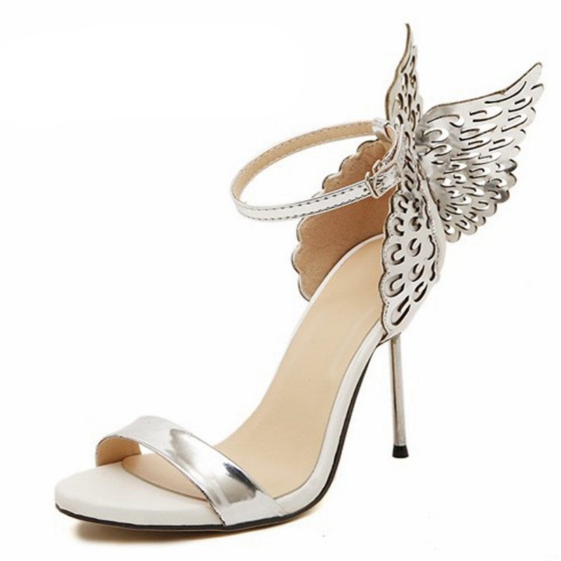 Fashion Summer Lady High Heels 2018 New <font><b>10</b></font> Cm Three-Dimensional Butterfly Angel Wings <font><b>Sexy</b></font> Women Sandal image