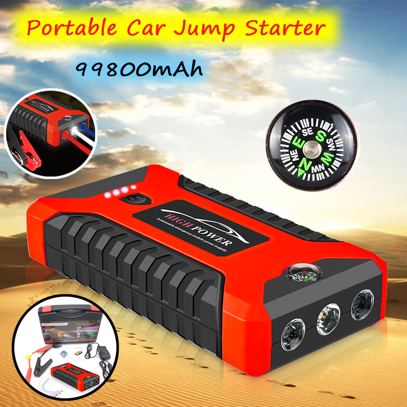Portable Car Jump Starter 99800mAh Multifunctional Car Mobile Power Bank with LED Light Lithium Ion Battery Emergency Charger