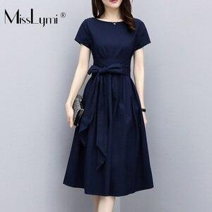 XL-5XL размера плюс женское офисное платье Лето 2020 корейская мода короткий рукав бант шнуровка Талия Свободные Повседневные платья а-силуэта