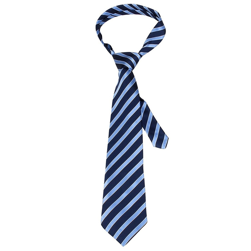 NEW-Men's White Blue Oblique Striped Adjustable Neckwear Tie