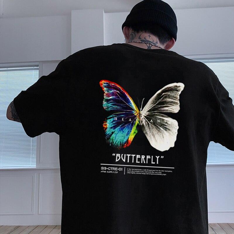 Футболка мужская оверсайз в стиле хип-хоп, уличная одежда в стиле Харадзюку, свободная футболка с принтом бабочки, с коротким рукавом, в стил...
