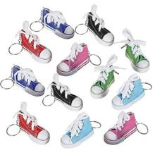 Mini Canvas Sneaker Keychains for Kids and Adults - Set of 12 3 Inch Tennis Shoe Key Chains Cool Birthday Party Favors