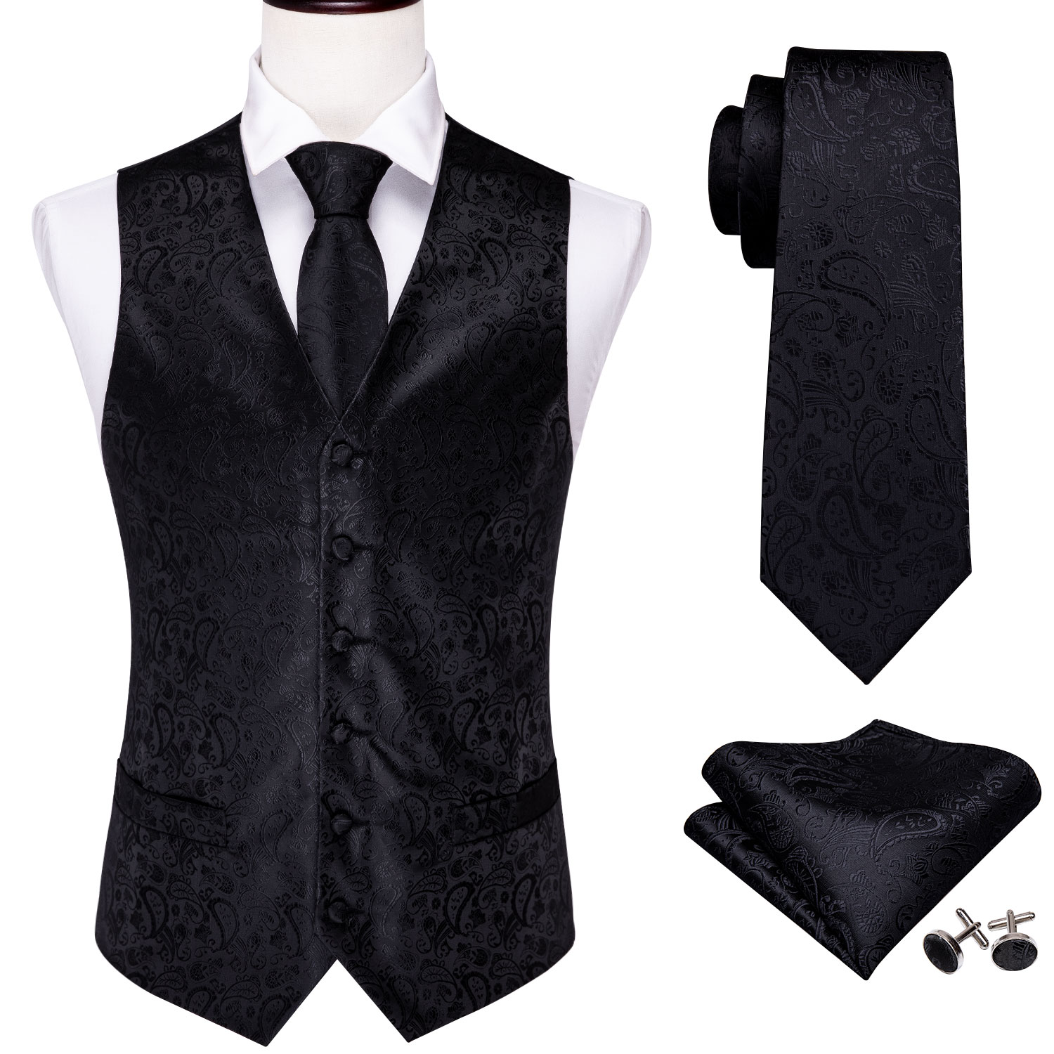 4PC Mens Silk Vest Party Wedding Black Paisley Solid Floral Waistcoat Vest Pocket Square Tie Slim Suit Set Barry.Wang BM-2014