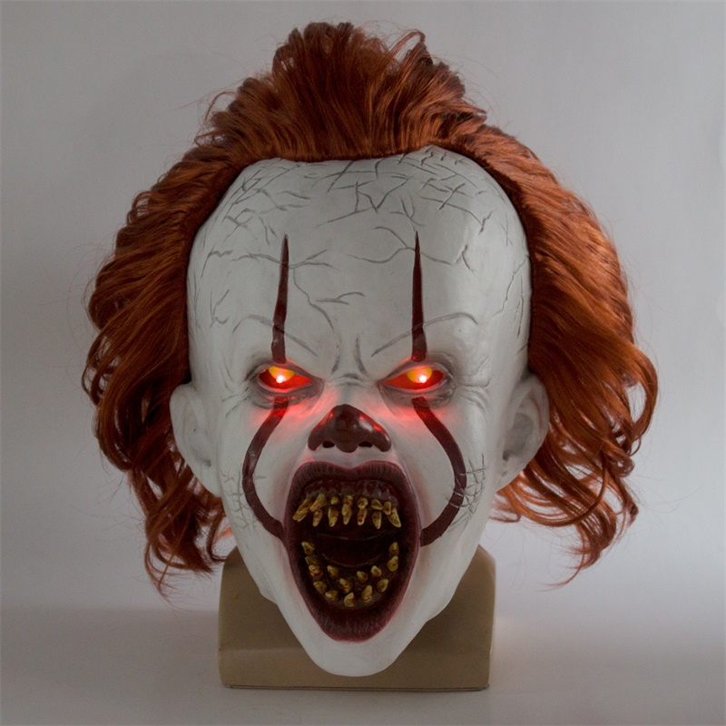 LED Lights Pennywise Mask It Chapter Two Scary Clown Cosplay Halloween Latex Masks