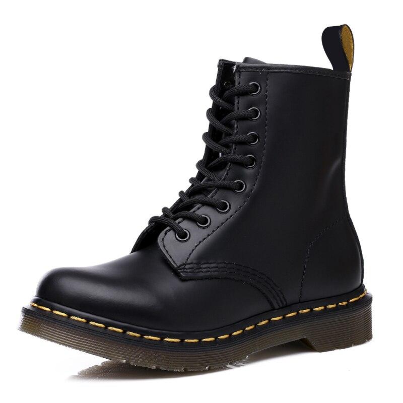 Vastwave Leather Boots Men's Martin Boots Leather Shoes Motorcycle Women Ankle Boots 35-46 Warm Couple Unisex Winter Shoes