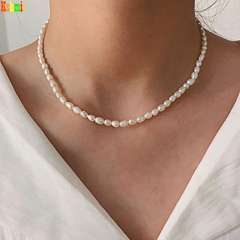 Colar de pérolas de água doce temperamento colar kshmir nova moda barroco do vintage natural feminino contas aniversário feminino geométrico