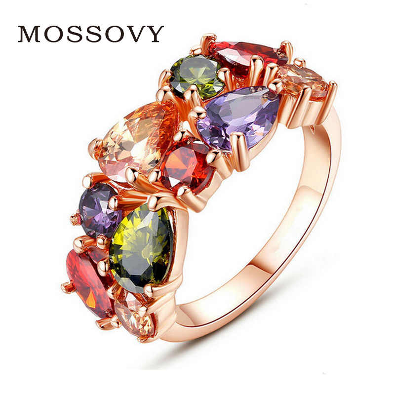 Mossovy Colorful Cubic Zirconia Rose Gold Engagement Ring for Female Fashion Popular Rhinestone Wedding Rings for Women Jewelry