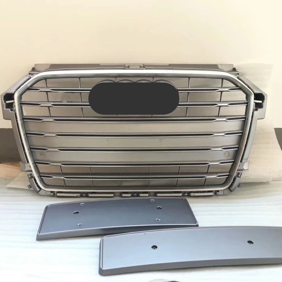 Grey Car Front Bumper Grille <font><b>Grill</b></font> for <font><b>Audi</b></font> A1/<font><b>S1</b></font> <font><b>Grill</b></font> 2015 2016 2017 2018 car accessories image