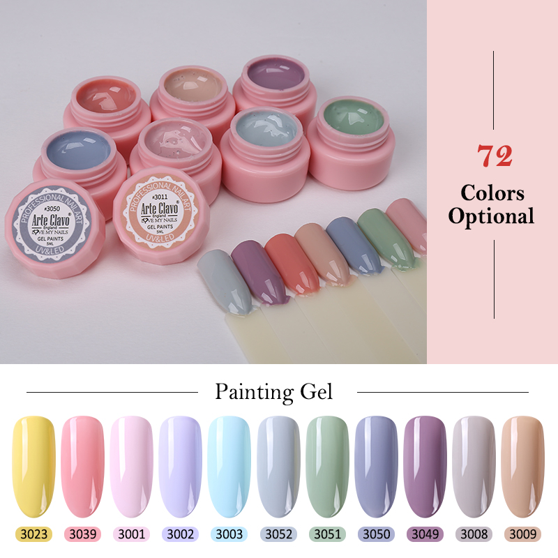 Arte Clavo 5ml Color Gel Paint UV Gel Nail Polish Soak Off Nail Lacquer Nail Art 72 Colors Glitter Nail Rainbow Painting Gel