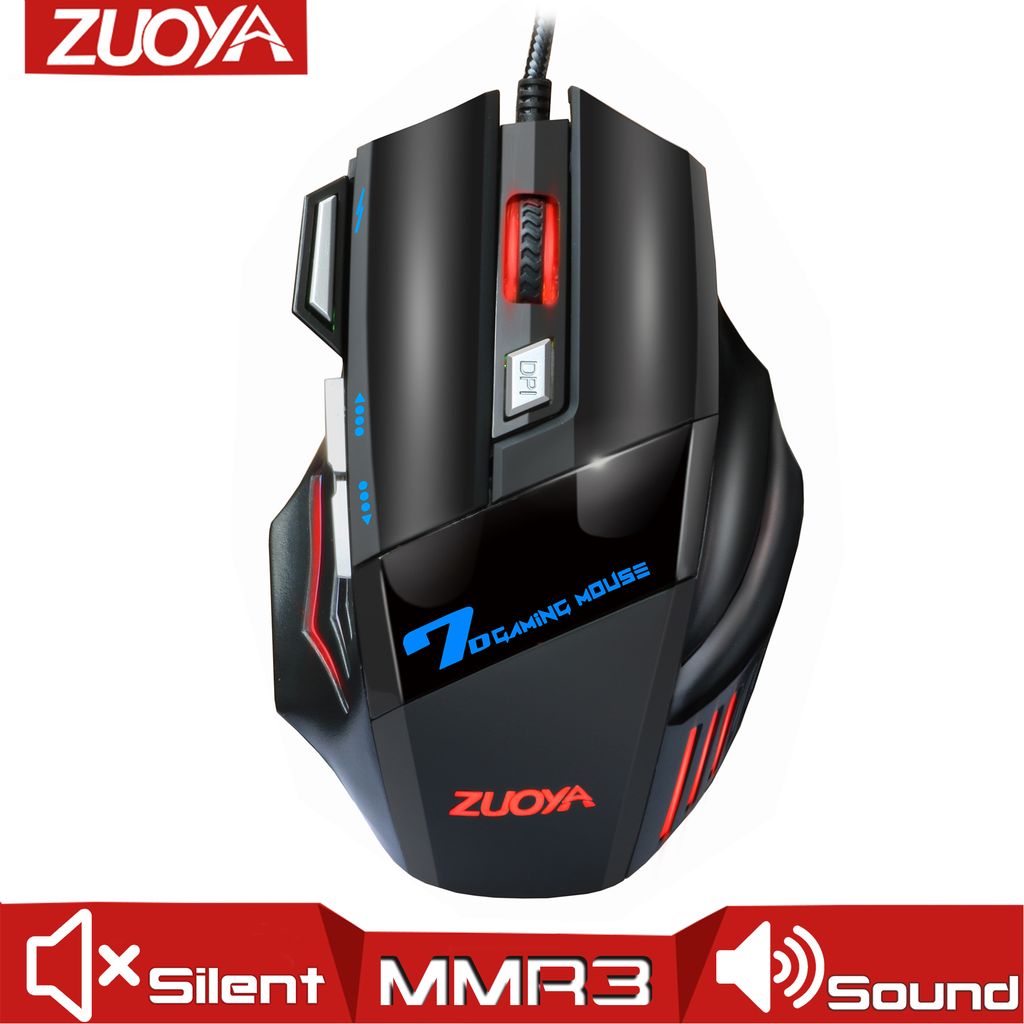 Professional Wired Gaming Mouse Game Mice USB 5500DPI Adjustable LED Backlight Optical Mause For PC Laptop Notebook