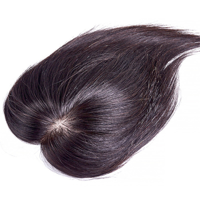 Topper-Wig Hairpiece Silk-Base Human-Hair Remy Women Clips-In for Straight Intermediate