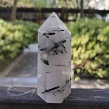 Tour de Cristal Tourmaline noire à Cristaux Wicca | Décor d'île Wicca, Cristaux de Quartz naturels, Rutile Cristal Pierre Naturelle, guérison
