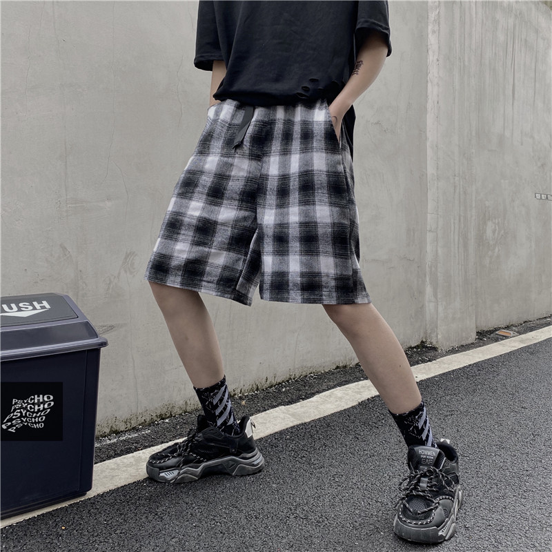 2020 Summer Couple Casual Shorts Harajuku Hip Hop Streetwear Shorts Checkerboard Loose Wide Leg Shorts For Men & Women Black