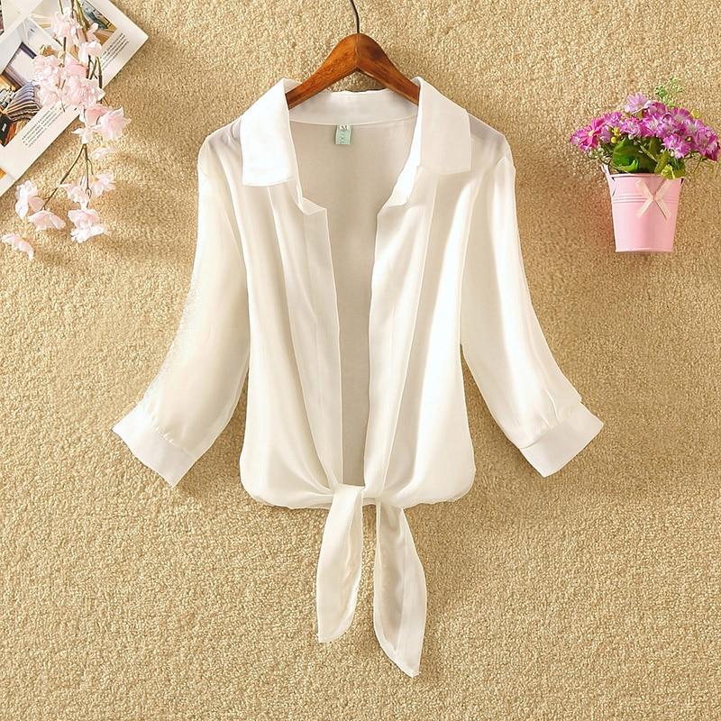 Womens Tops And Blouses 2020 Summer Beach Shirts Sunscreen Chiffon Long Sleeve Leisure Cardigan Blouse Female White Shirt Blusas