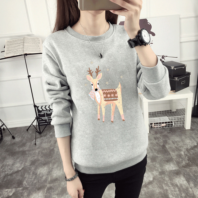 2019 Autumn And Winter New Women's Thickening Plus Velvet Hooded Cartoon Printing Sweater Loose Large Size Women's Clothing