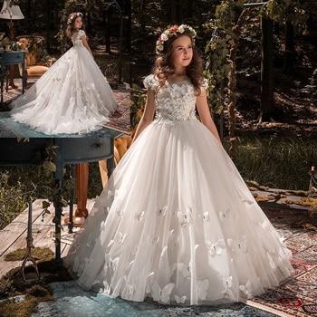 Hermosos vestidos de flores para niña para boda mariposa 3D nuevos vestidos de noche encaje vestidos de primera comunión para niñas