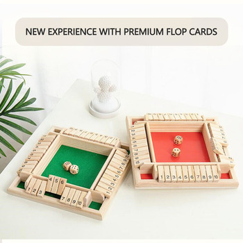 4 Sided 10 Numbers Shut The Box Board Game Wooden Mathematic Traditional Pub Board Dice Game Family Travel Fun Game Set Dropship