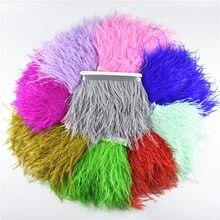 Страусиное перо, украшение для юбки, свадебное украшение, натуральное Черное и белое перо страуса, 1 метр, 8-10 см