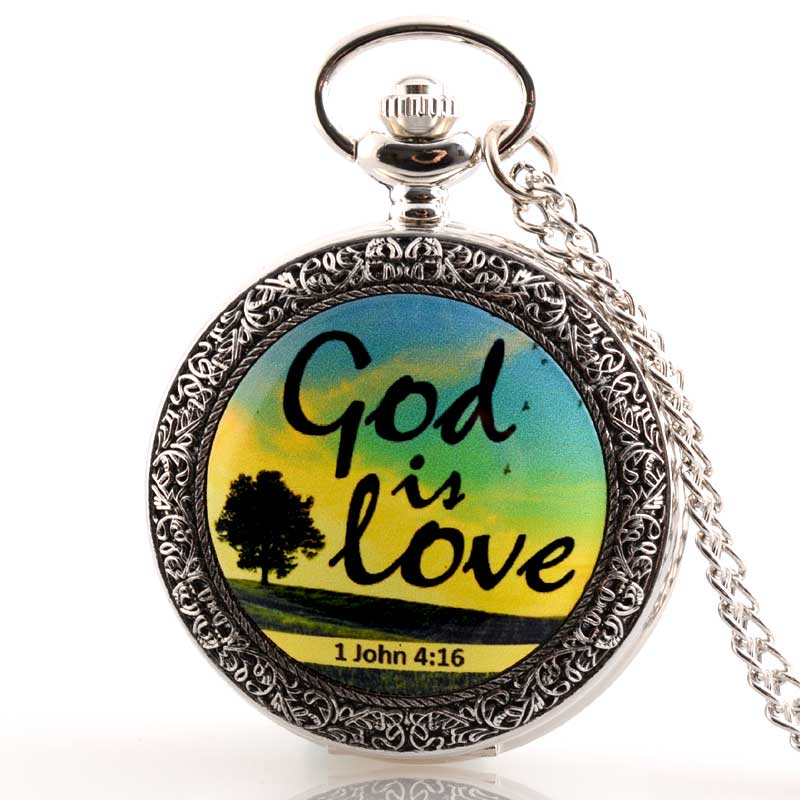 New Silver God Is Love  Bible Verse  Quartz Pocket Watch Classic Men Women Pendant Necklace Gift Clock