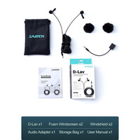 Sairen 3.5mm single/dual head lapel clip microphone lavalier omnidirectional recording mic for smartphone ipad dslr camera