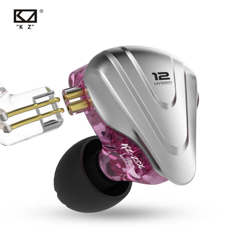KZ ZSX سماعات أذن من المعدن 5BA + 1DD الهجين التكنولوجيا 12 سائق ايفي باس سماعات الأذن في الأذن مراقب سماعات إلغاء الضوضاء سماعة