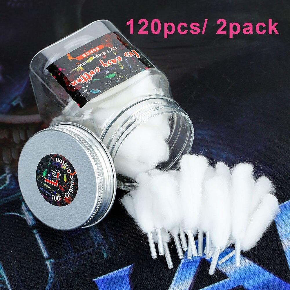 120pcs/2pack Lvs Easy Cotton Smoking DIY 100% Organic Cotton For RDA/ RTDA Rebuildable Atomizer Wicking Vape Cotton