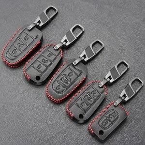 Image 1 - Funda para llave de coche para Peugeot 301, 308, 408, 508, 2008, 308S, 3008, 4008, 5008, accesorios, llavero de cuero genuino, soporte para bolso