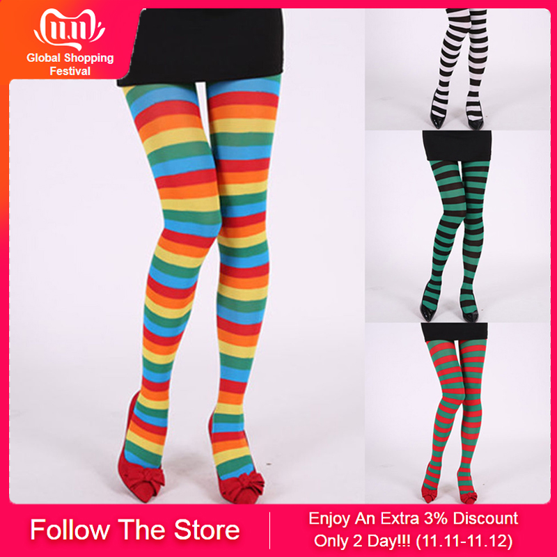 Ladies Girls OVER KNEE Thigh High Fancy Long Stripes Socks Stripped Cotton Blend